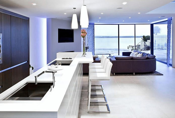 White Ace Stools in White Kitchen
