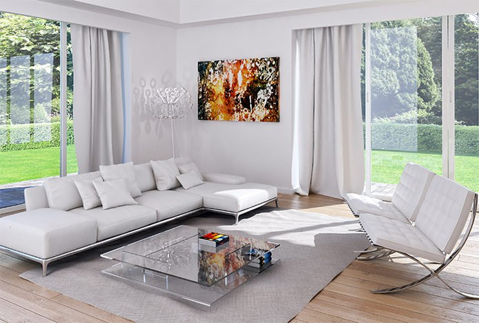 White Barcelona Chairs in Living Room