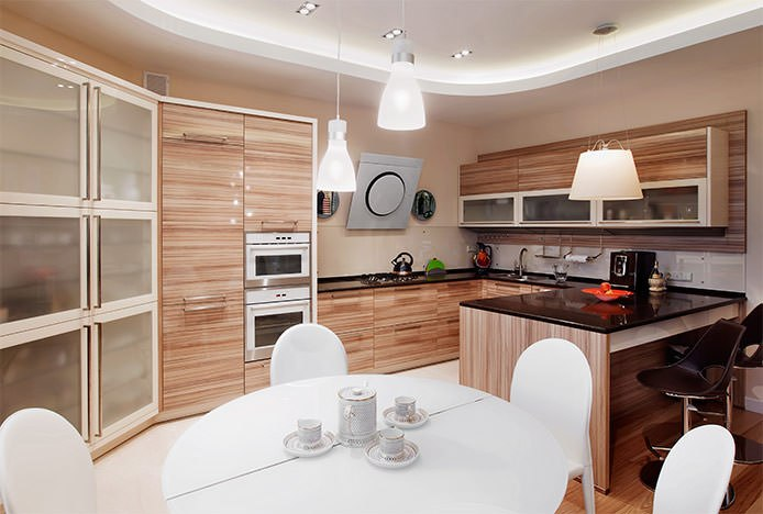 White Circular Table in Wooden Kitchen