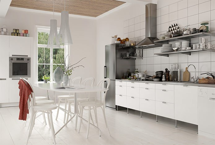 White Dining Set with Bistro Chairs