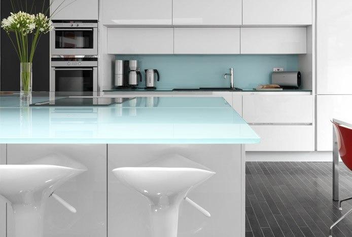 Coco Bar Stools White in Monochrome Kitchen