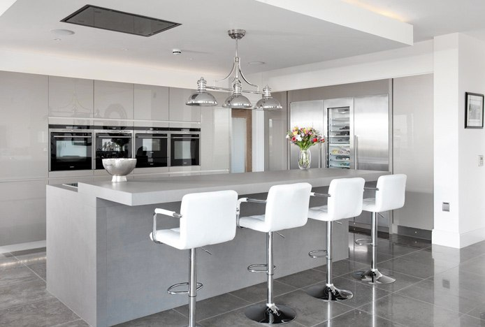 Maze Bar Stool in Neutral Grey Kitchen