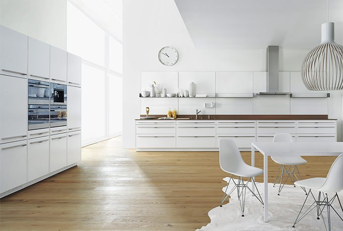 White Metal Eames Chair in White Kitchen
