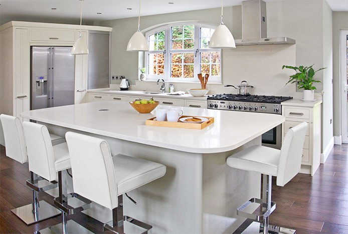 White Siena Bar Stools In The Kitchen