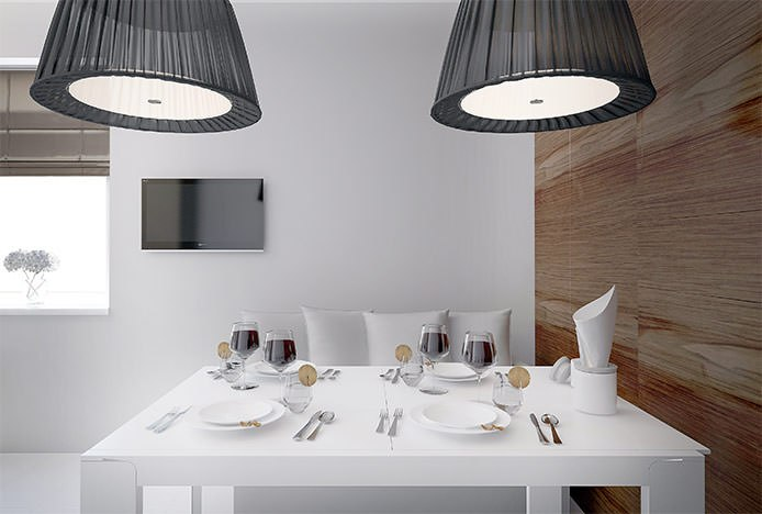 White Table in Contemporary Dining Room
