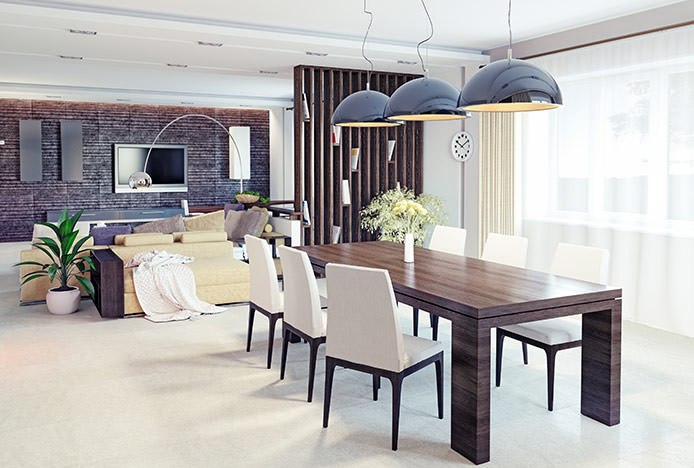 Wooden Dining Table in Open Plan Home