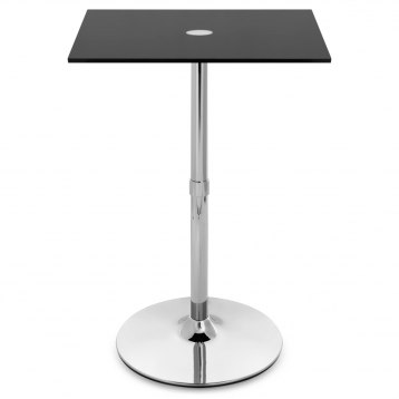 Black Glass Chrome Square Bar Table