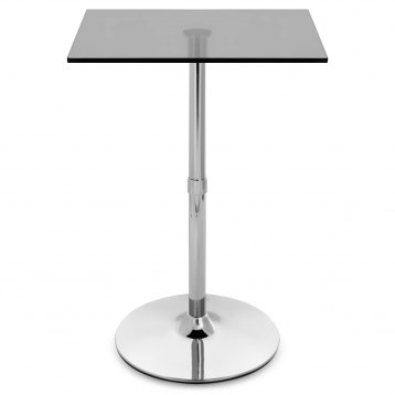 Smoked Glass Chrome Square Bar Table