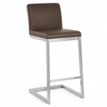 Ace Brushed Steel Stool Brown