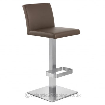 Encore Brushed Steel Stool Brown