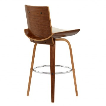Rhodes Walnut Stool Black Leather