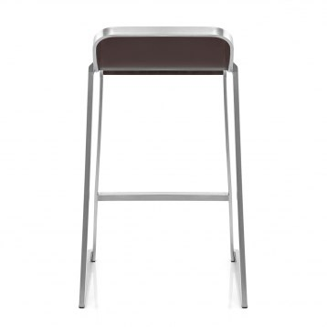 Ramsay Light Wood Stool Black Leather