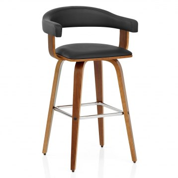 Cuban Brushed Steel Stool Black