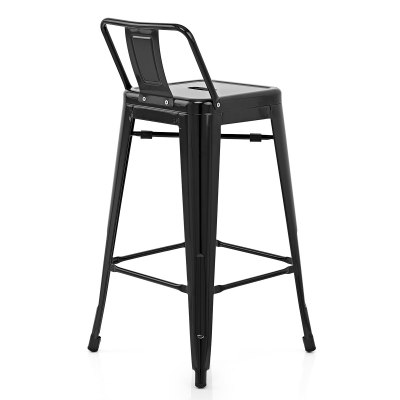 Chairs & Stools Purcell Walnut Stool Black Leather