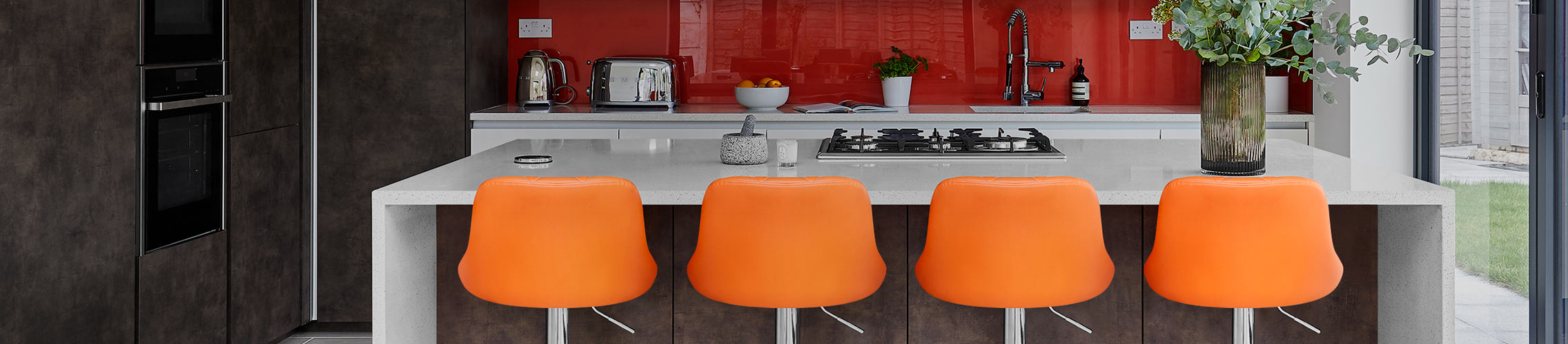 Orange Breakfast Bar Stools