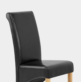 Carlo Oak Chair Black Leather