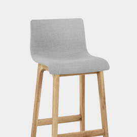 Drift Oak And Light Grey Fabric Stool