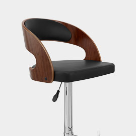 Eve Wooden Bar Stool With Black Leather Seat