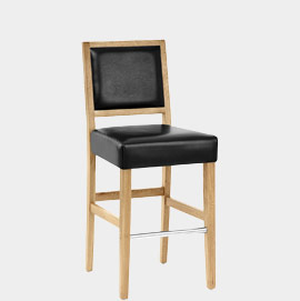 Jasper Leather Bar Stool Oak and Black