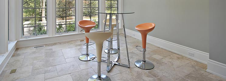 Cross Base Bar Table with Cream and Orange Bar Stools