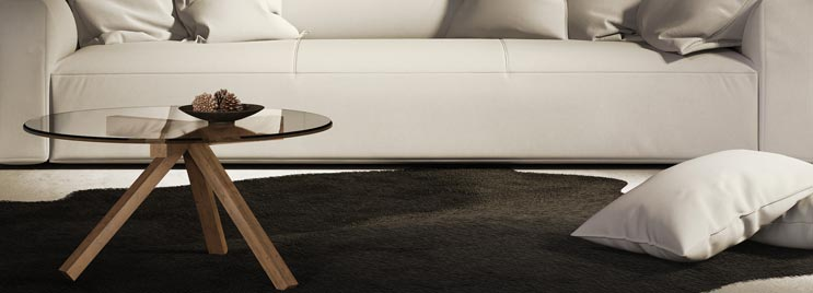 Glass Wooden Coffee Table with White Sofa