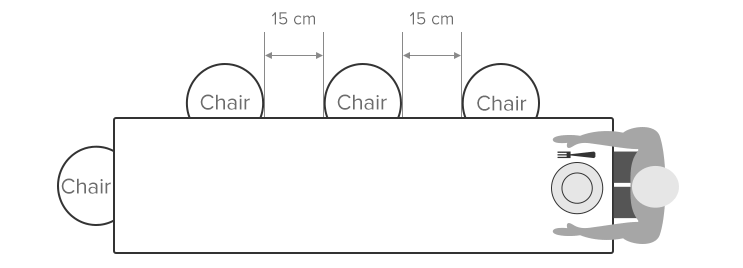 Diagram Illustrating the Correct Spacing for Dining Chairs