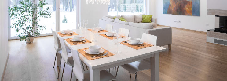 White Dining Set in Modern Open Plan Living Room