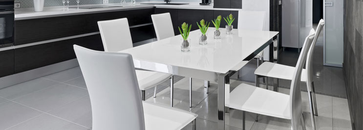 Chrome Frame Dining Table With White Dining Chairs