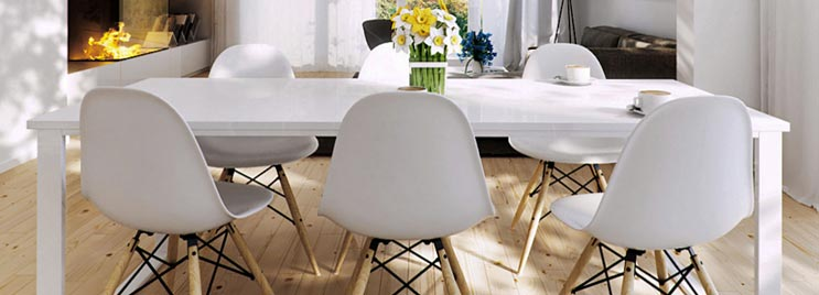 White and Wood Chairs at White Dining Table