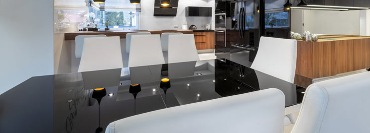 Black High Gloss Dining Table with White Chairs