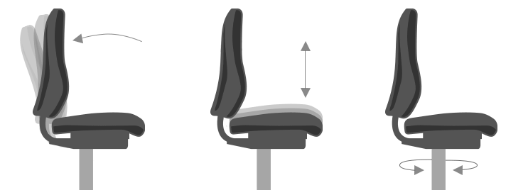 Diagram Demonstrating Adjustable Features of Office Chairs