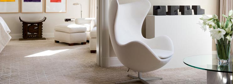 Cream Funky Swan Chair In Cream Bedroom
