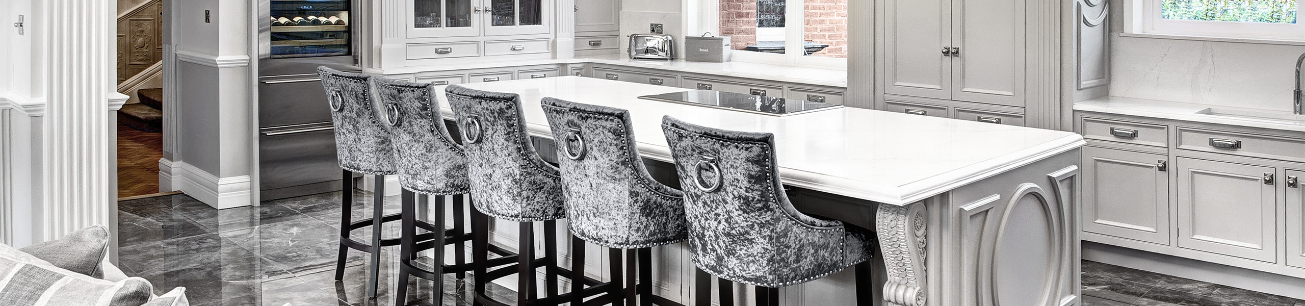 Ascot Bar Stool Steel Grey Velvet Video Banner