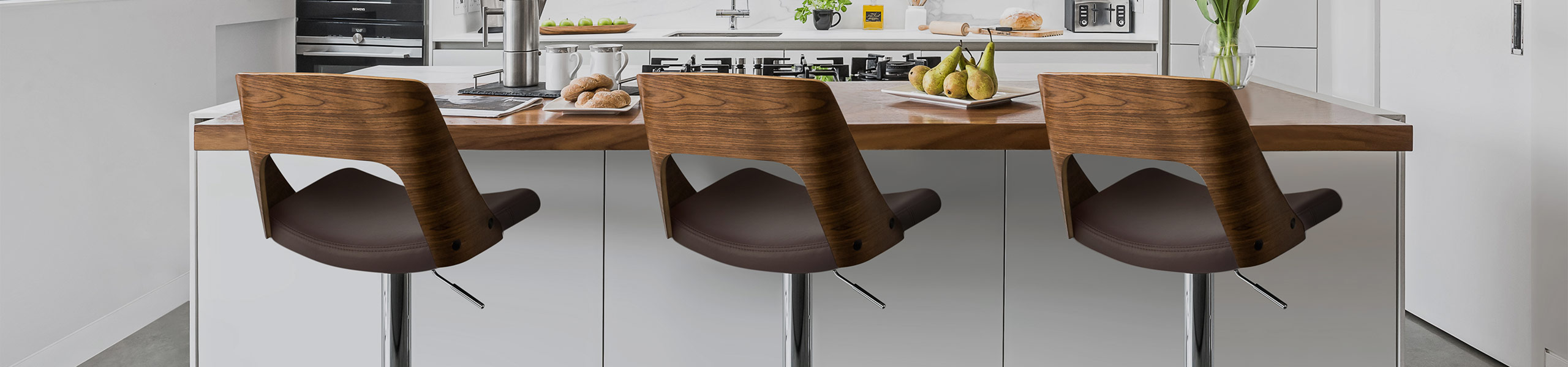 Carmen Leather Bar Stool Walnut & Brown Video Banner
