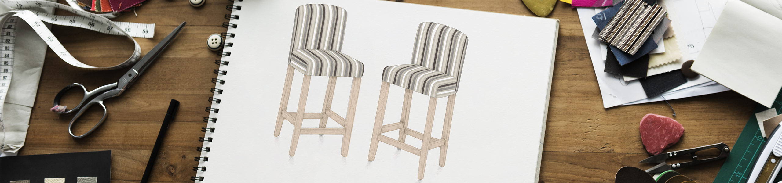 Carter Oak Bar Stool Stripe Fabric Video Banner