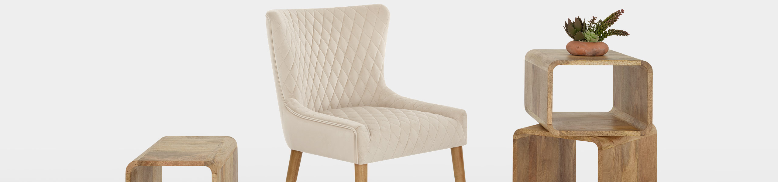 City Oak Chair Cream Velvet Video Banner