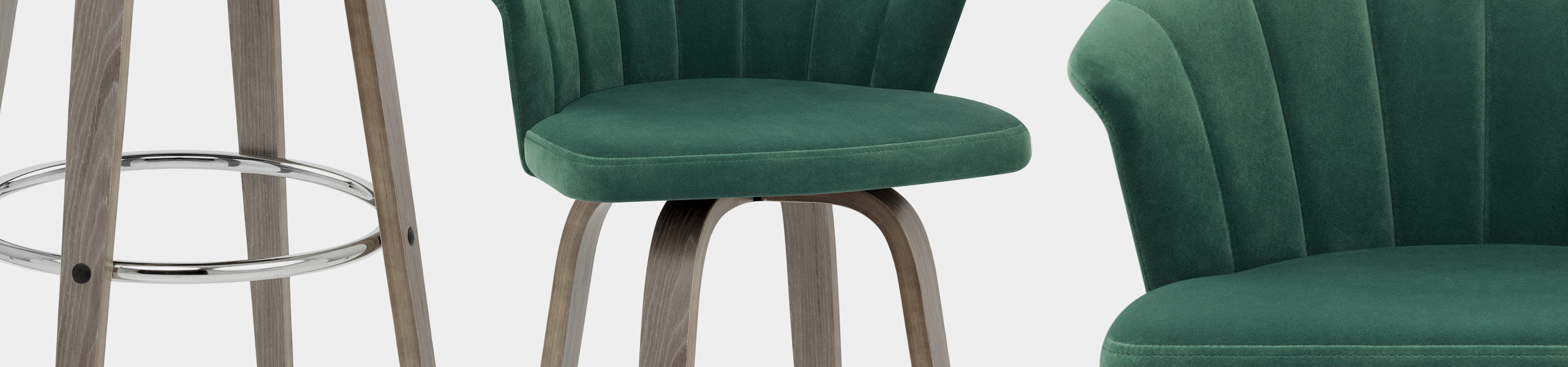 Concerto Wooden Stool Green Velvet Video Banner