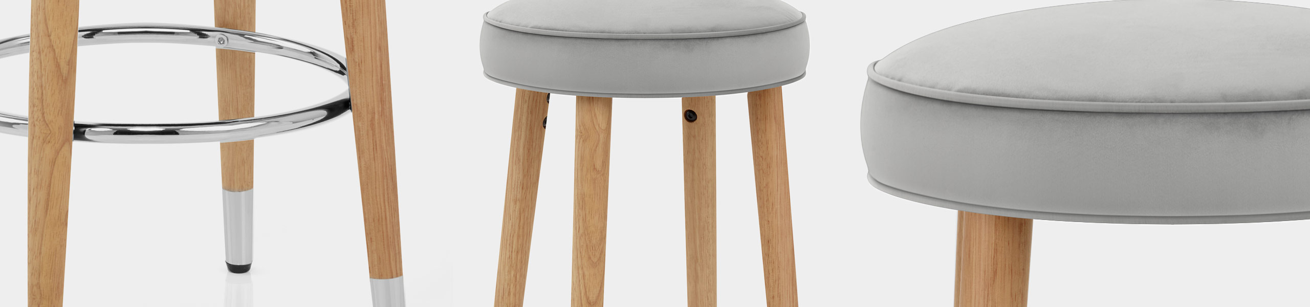 Conrad Oak Stool Grey Velvet Video Banner