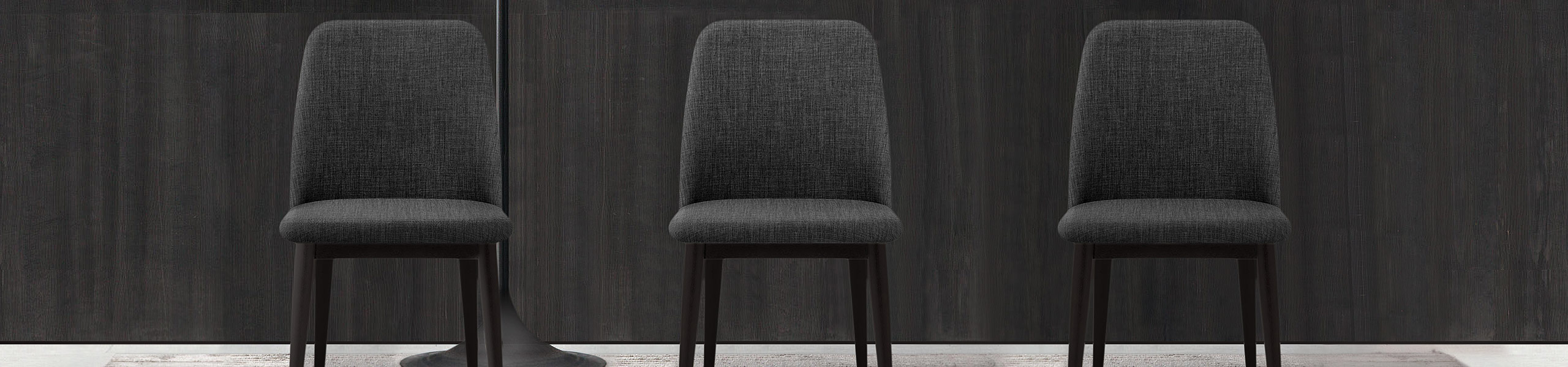 Elwood Walnut Dining Chair Charcoal Fabric Video Banner