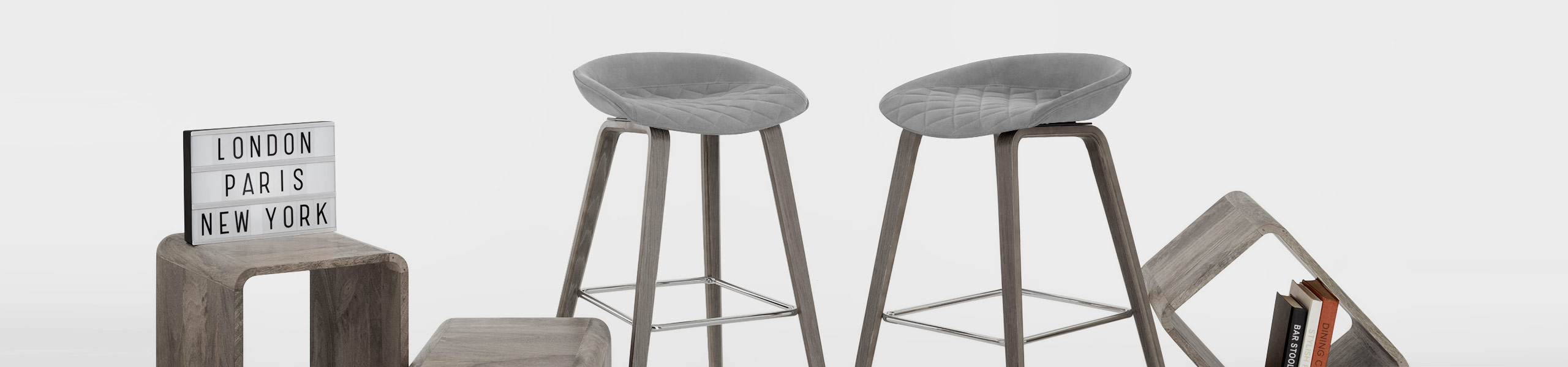 Epic Wooden Stool Grey Velvet Video Banner