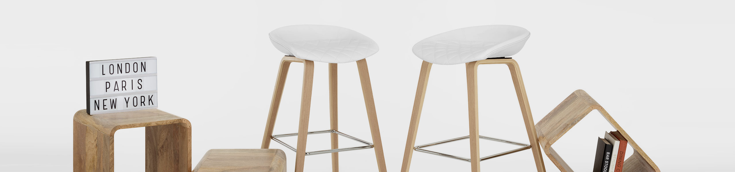 Epic Wooden Stool White Leather Video Banner