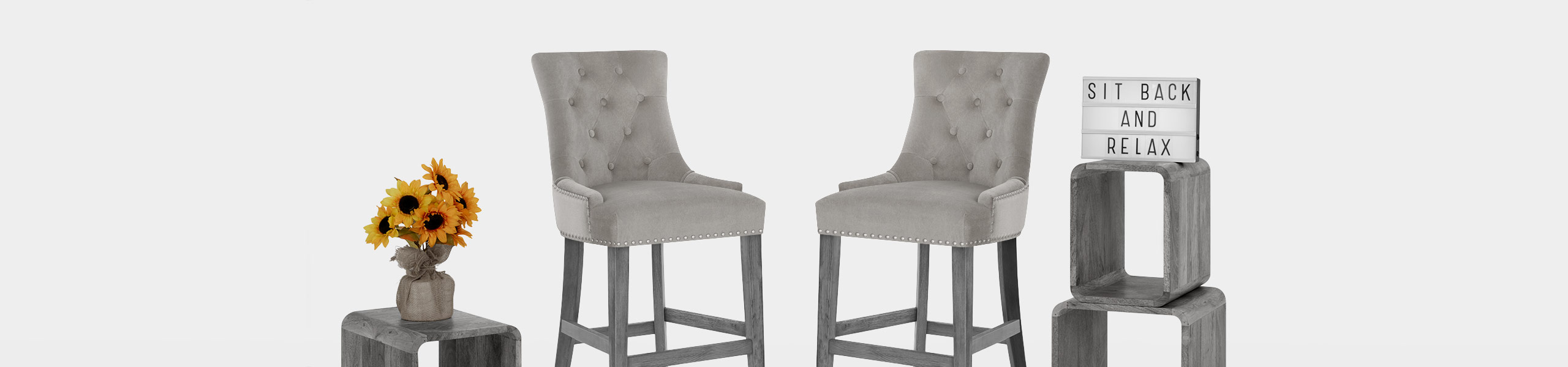 Etienne Bar Stool Grey Velvet Video Banner