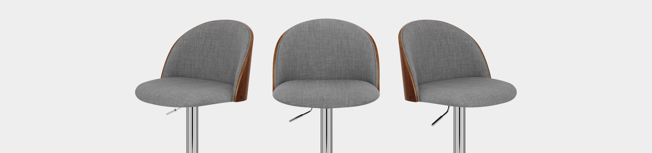 Focus Walnut Stool Grey Fabric Video Banner