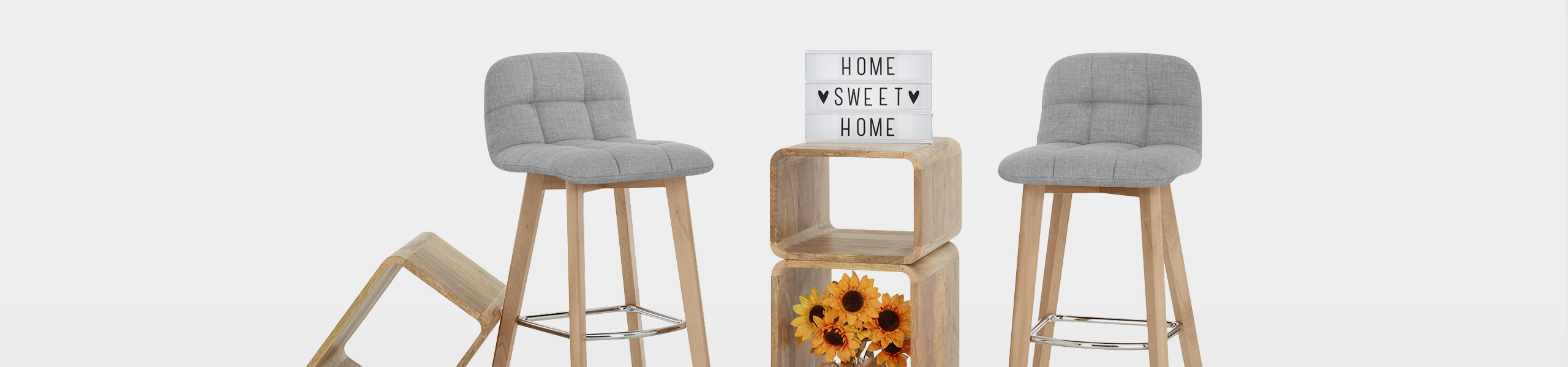 Hex Wooden Stool Grey Fabric Video Banner