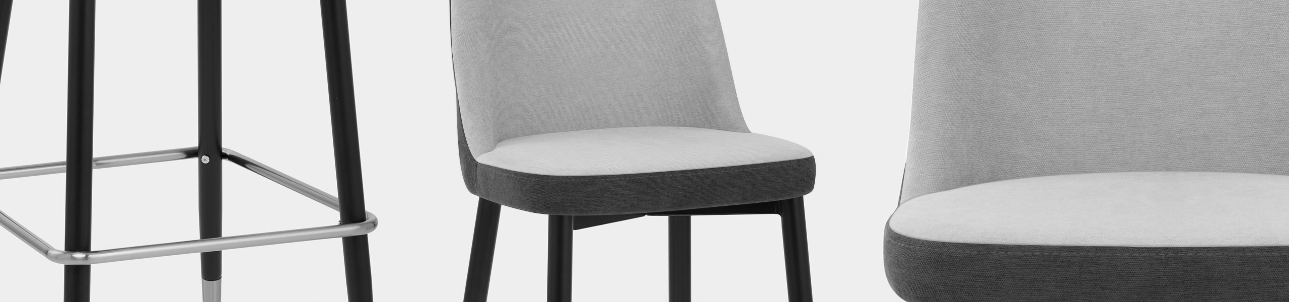 Hudson Stool Charcoal & Grey Fabric Video Banner