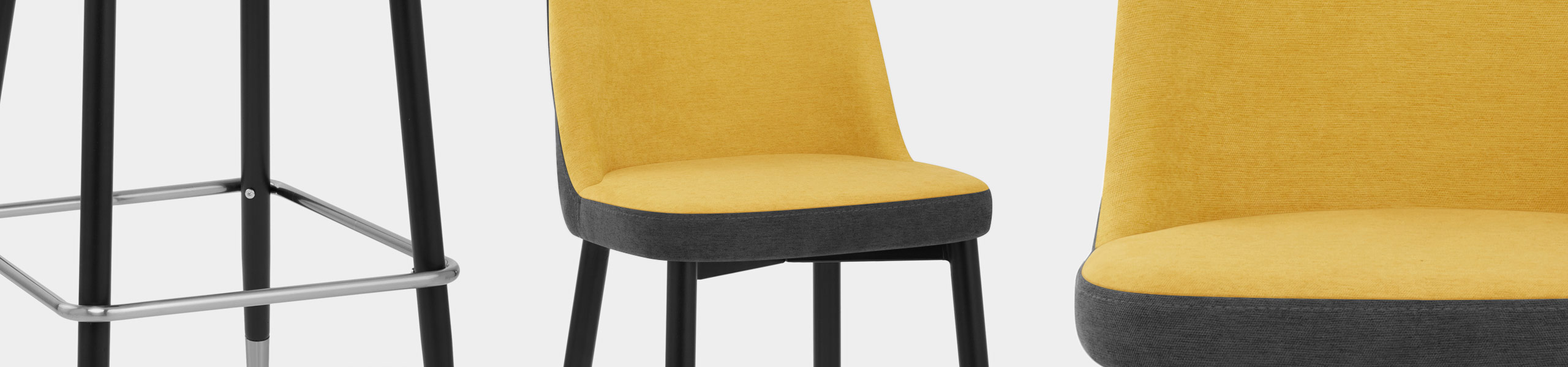 Hudson Stool Charcoal & Yellow Fabric Video Banner