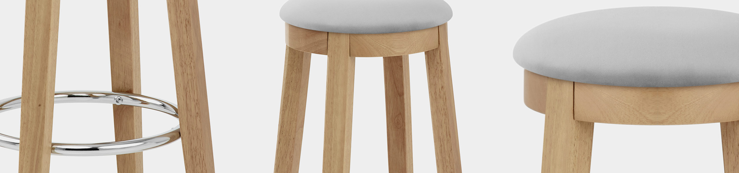 Ikon Kitchen Stool Oak & Grey Velvet Video Banner