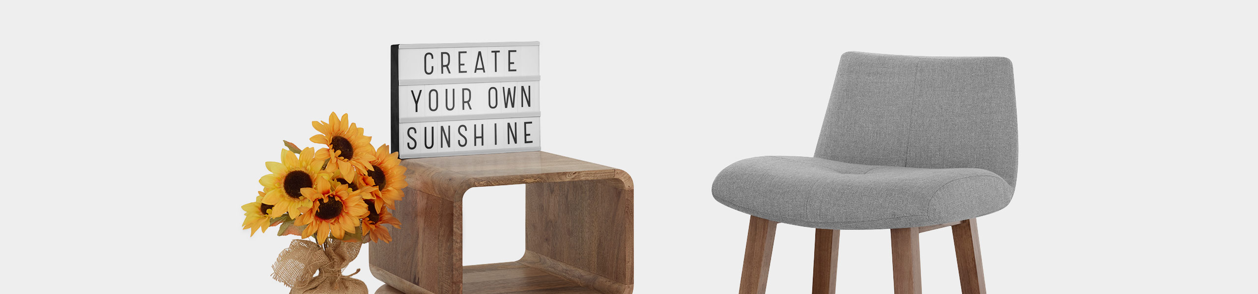 Impulse Wooden Stool Grey Fabric Video Banner