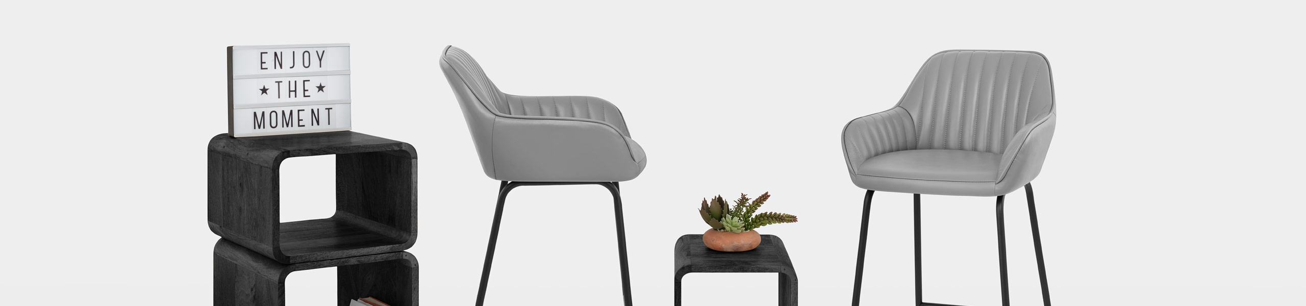 Kanto Real Leather Bar Stool Grey Video Banner