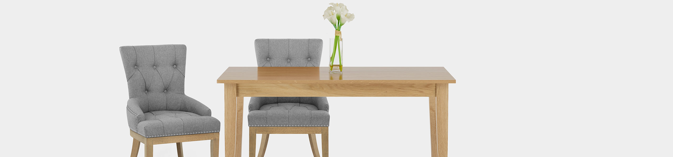 Knightsbridge Oak Chair Grey Fabric Video Banner
